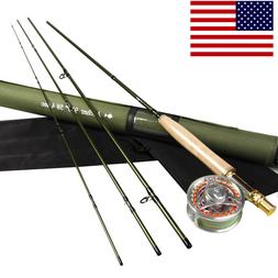9' 5WT Fly Fishing Kit Carbon Fiber Fast Action Fly Rod Fly