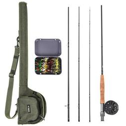 9' Fly Fishing Rod and Reel Combo with Carry Bag 20 Flies Co