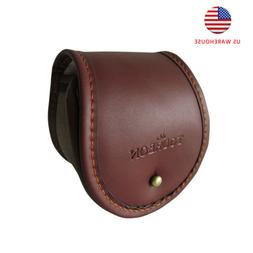 Tourbon Canvas&Leather Fly Fishing Reel Storage Pouch Case P