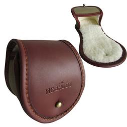 Tourbon Fly Fishing Reel Pouch Cover Rod Spool Case Leather