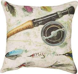 Fly Fishing Rod Reel w Flies 18 in Sq Pillow Decorative Indo