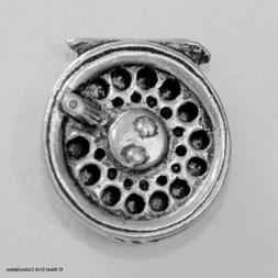 Fly Reel Pewter Pin Brooch -British Hand Crafted- Angling Fi
