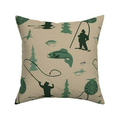 fly fishing fisherman fly reel throw pillow